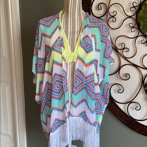 OP sheer coverup M neon Aztec with white fringe